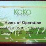 Koko at Kalia Hours of Operation