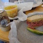 Corned Beef sandwich, chicken soup, Dr. Brown's cream soda