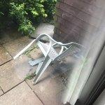 Broken chair on terrace