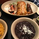Carne assada burrito, enchilada and taco with black beans and rice