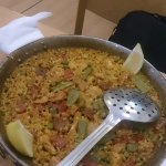 Paella with Pollo (chicken meat) y chorrizo