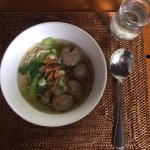 Breakfast buffet-Indonesian bakso and noodle.