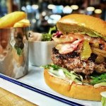 Avocade Bacon and Beef Burger. 10€ Every Monday to Wednesday 14:00-22:00