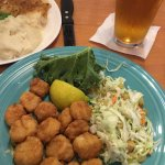 Fried scallops with Rice! Great cole slaw