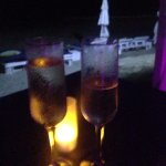 Champagne in front on beach...