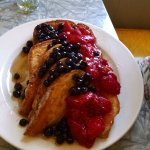 french toast with strawberries and blueberries
