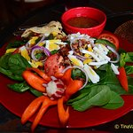 Spinach salad, also masterfully presented!