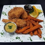 Chicken fingers and sweet potato fries for grown-ups