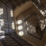 """Lovely spiral staircase, from 6th (top) to the """"-1"""" floor (breakfast room)."""
