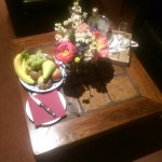 Fresh fruit, wine & flowers on arrival