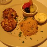 crab cakes, shrimp risotto, and fruit