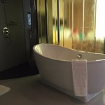 great standalone tub with just tinted glass separating the bathroom from the bedroom