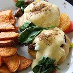 Our famous Jamaica Sunshine Breakfast item. Eggs benny with jerk pork and rum hollandaise.