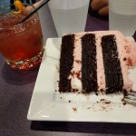 Strawberry chocolate cake and an old fashioned. A bakery that serves alcohol? Yes please!