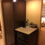 Coffee maker, microwave and refrigerator