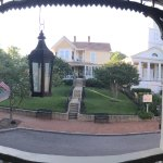 Panoramic view from the second floor balcony overlooking Main Street