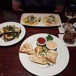 Chicken quesadilla, shrimp tacos and potato wedges
