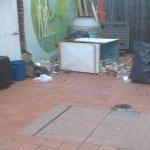basura acumulada en el patio del hostel