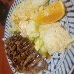 Poke bowl and beef teriyaki