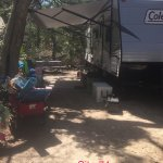 Site 74, we had a 30' travel trailer and plenty of room! Lots of shade and privacy.