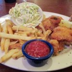 Friend shrimp, french fries and cole slaw