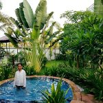 Our tropical green garden and swimming pool for kids
