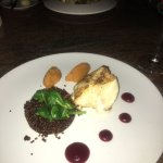 Chilean sea bass with beet puree, red quinoa and sweet potato. Ike's Bistro, Manchebo.