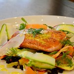 From the Large Plates selection, the Salmon, lentils, insalata primavera, limoncello vinaigrette
