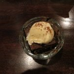 Mini-dessert: Italian chocolate cake with vanilla ice cream.