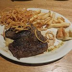 Sirloin steak with half-fries, half Copper Reds -- fried onions.