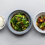 caramelised pork hock, asian greens & rice