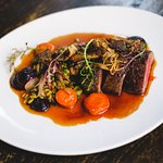 Charred beef, roasted carrot