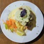 Fab Marlin steak under all that creamy sauce!