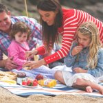 Family Friendly enjoying a Picnic on Soar Mill Cove Beach