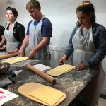 Cooking class - learning to laminate butter into dough.
