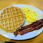 scrambled eggs/bacon/waffle