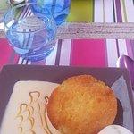 Moelleux ananas et boule de glace citron vert