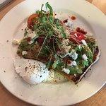 Sourdough, feta, harissa, egg and avocado.