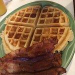 Belgian Waffle with bacon.