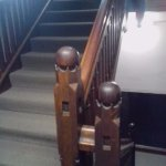 Quaint carvings on the hotel stairs