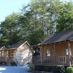 Our Cozy cabins with a queen size bed and a full over twin bunk bed. Kitchen and private bathroo