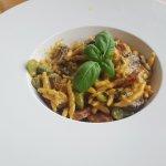 Trofie pasta chorizo and mushrooms very nice