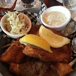 Nice chowder, bland fish and chips