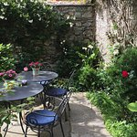 One of the dining areas in the garden