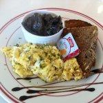Scrambled eggs, grain toast, side of creamy mushrooms