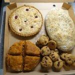 Gluten-free, vegan baking - frangipane tart, bread loaf, tomato & herb scones, choc chip cookies