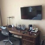 Television and desk area