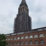 Kiel, tower of the City Hall clad in scaffolding