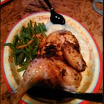 Rotisserie chicken, green beans, mashed potatoes