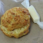 The yummiest Cheese snd bacon scones. Comes with a little package of fresh nz butter.